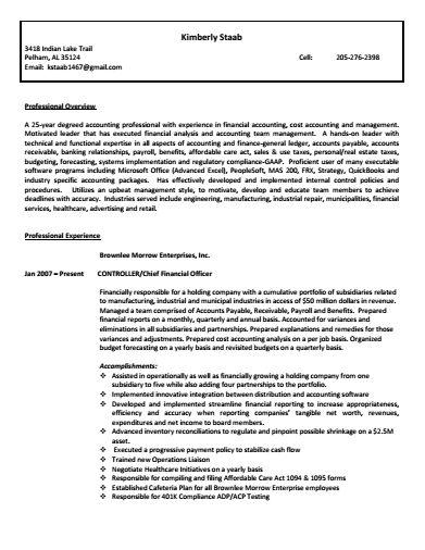 Resume Controller. CFO