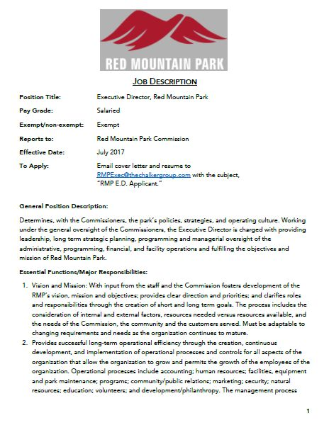 Job Posting Executive Director Red Mountain Park  Birmingham
