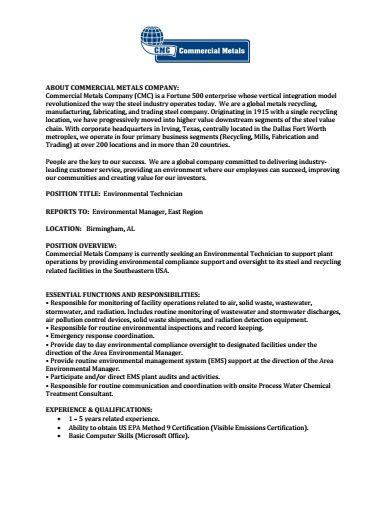 CMC Steel AL Job Posting Environmental Technician