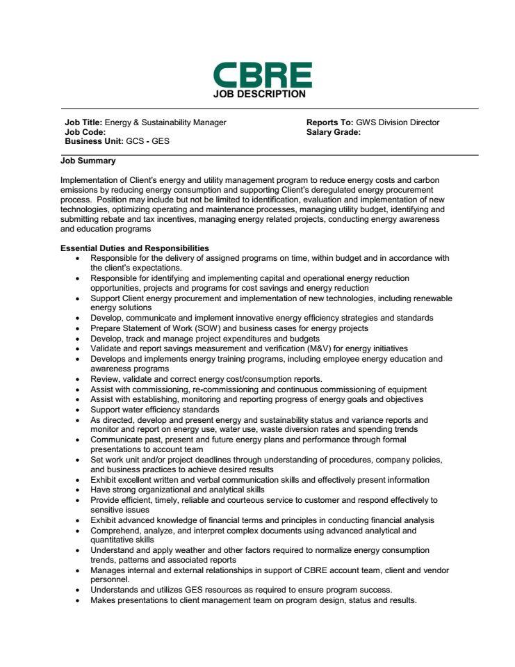 Environmental Manager Job Description. Environmental Manager Job