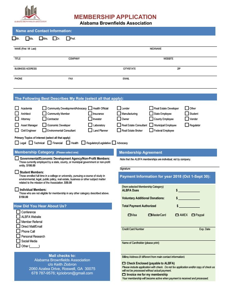 ALBFA Membership Application