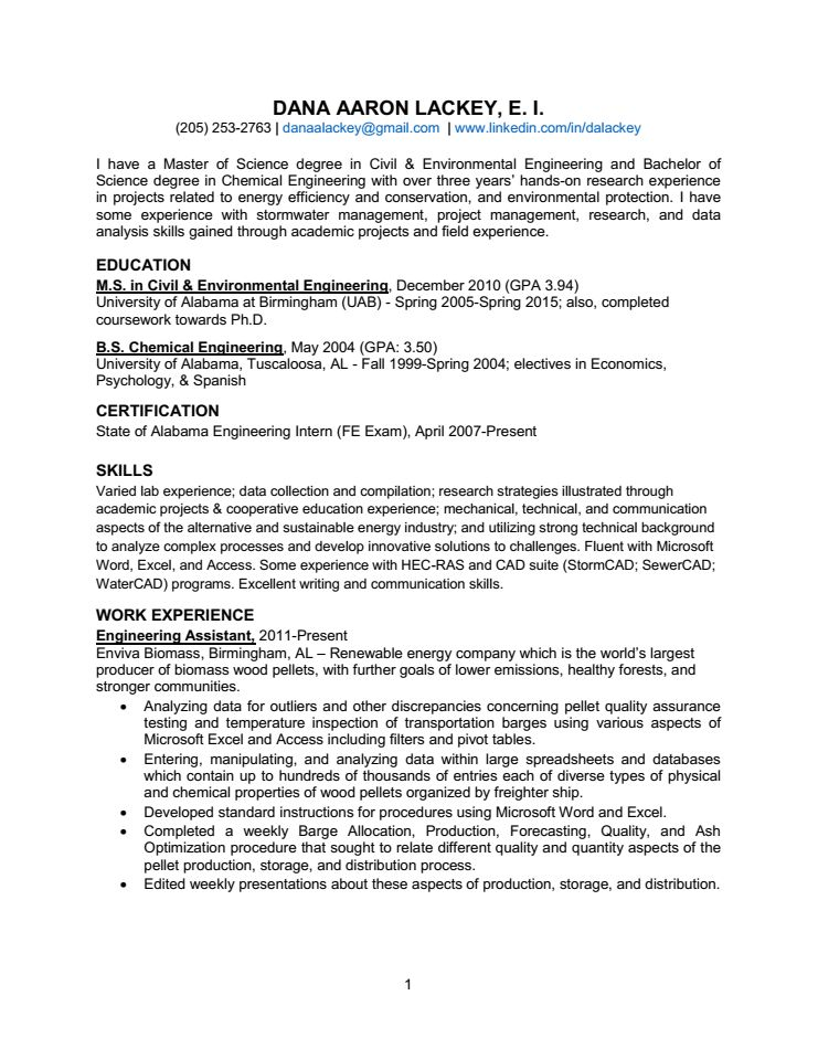 Position Wanted: Civil, Environmental, & Chemical Engineering ...