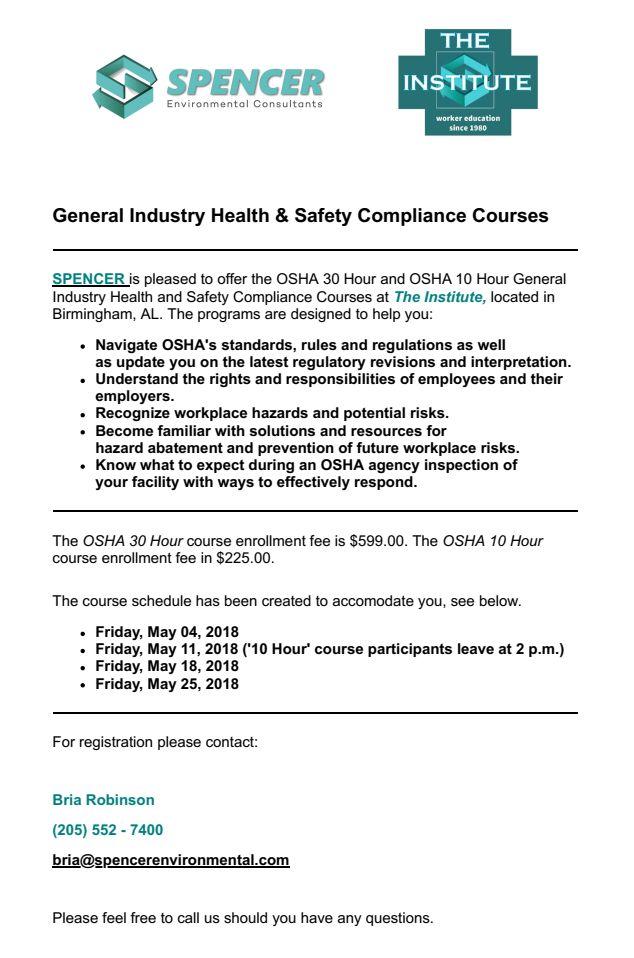 18.4 OSHA 30 Hour and 10 Hour