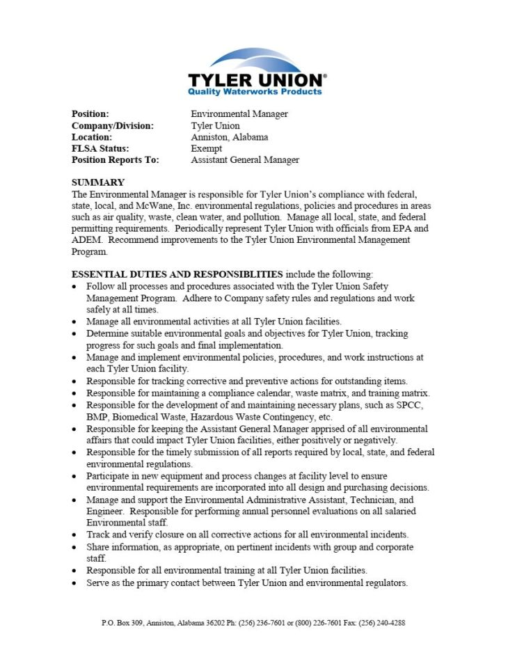 Environmental Manager - Tyler Union - 2018